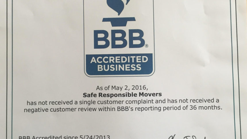 Movers Reviews - The Better Business Bureau says no complaints for Safe Responsible Movers!